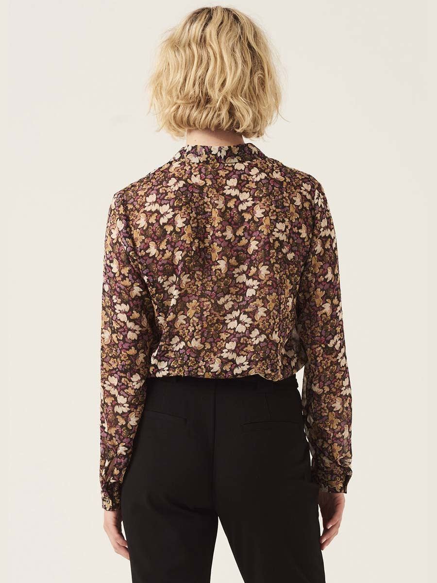 Floral Blouse with Lurex Pinstripe