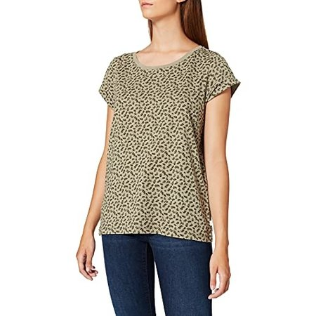 Crew Neck Printed Tee - Olive on Green Leaves