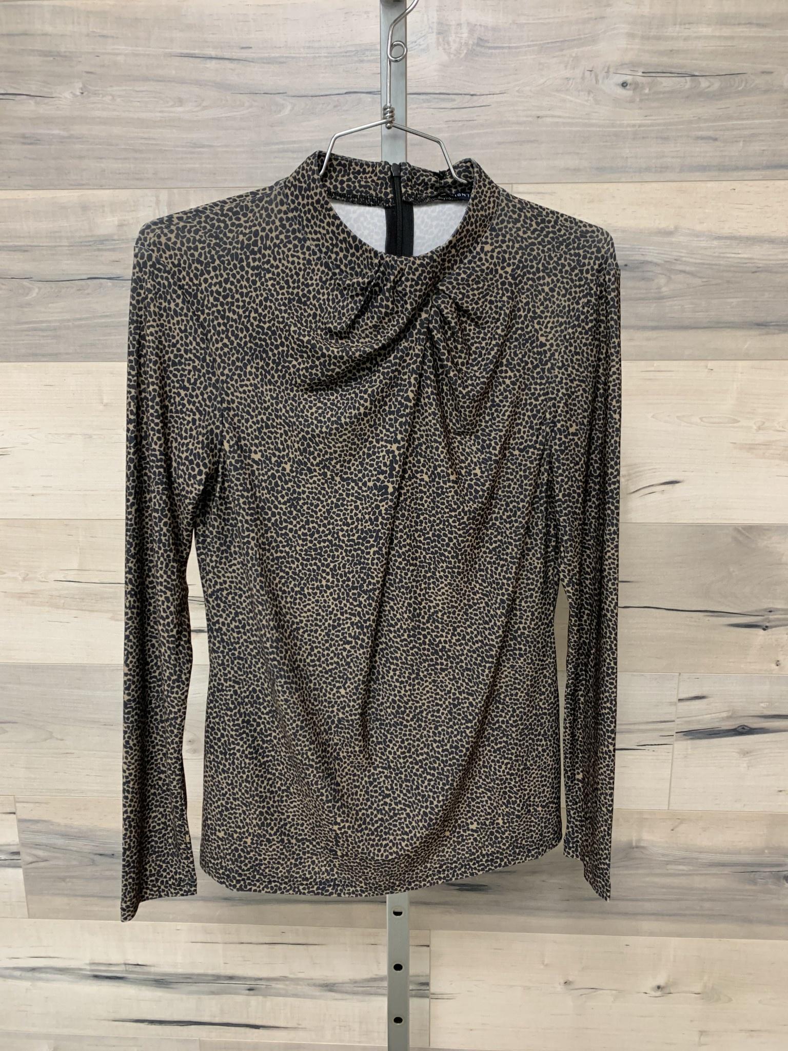 Fancy Tucked Collar Top - Black Speckle