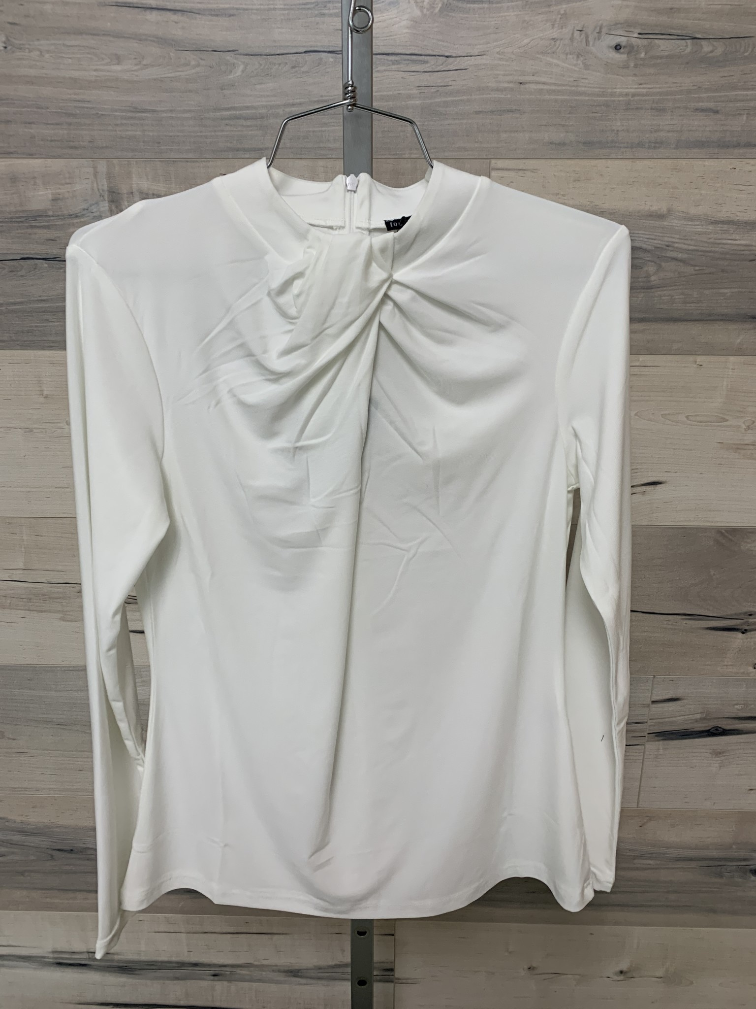 Fancy Tucked Collar Top - Winter White