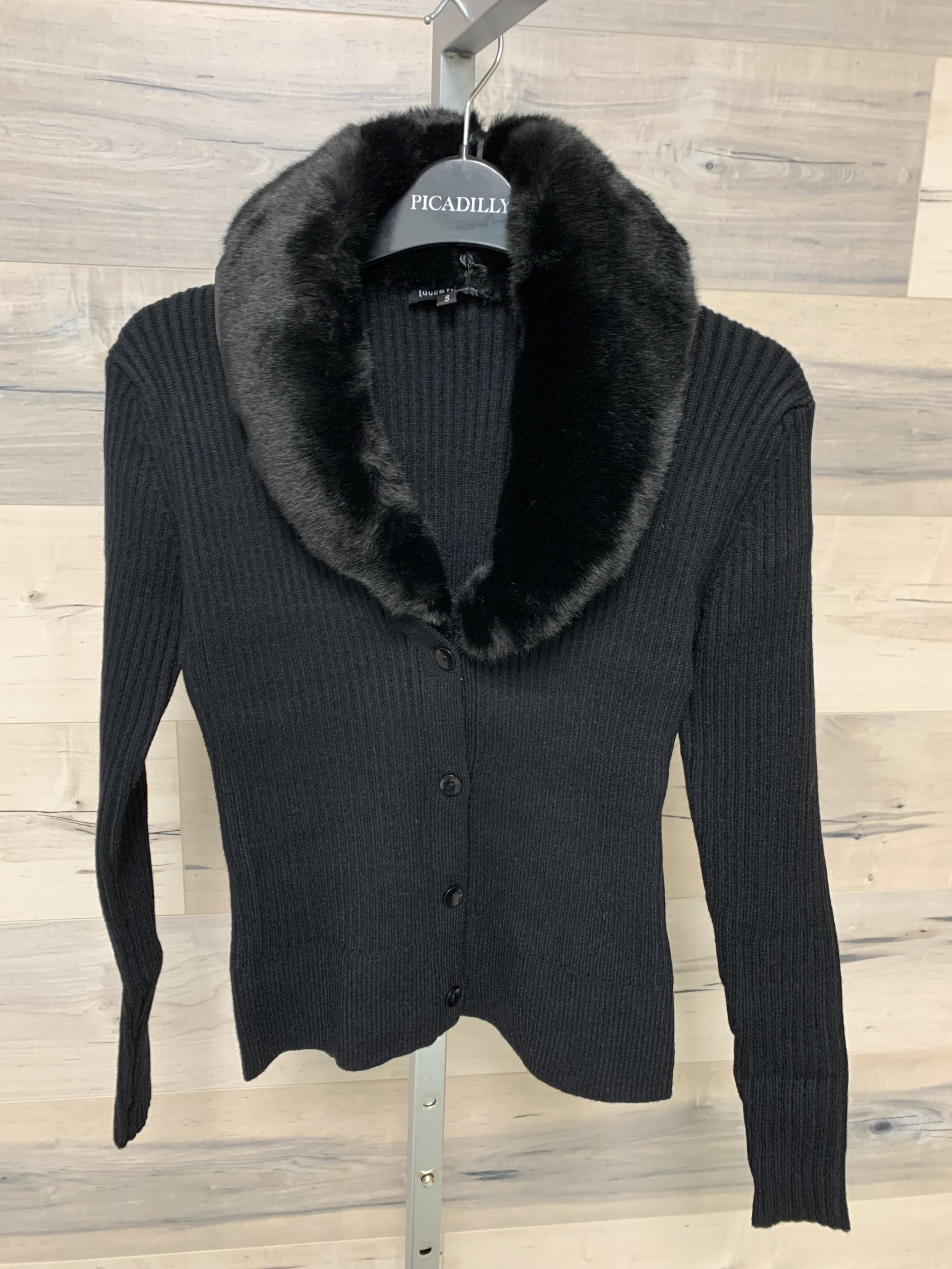 Cardigan with Removable Faux Fur Collar