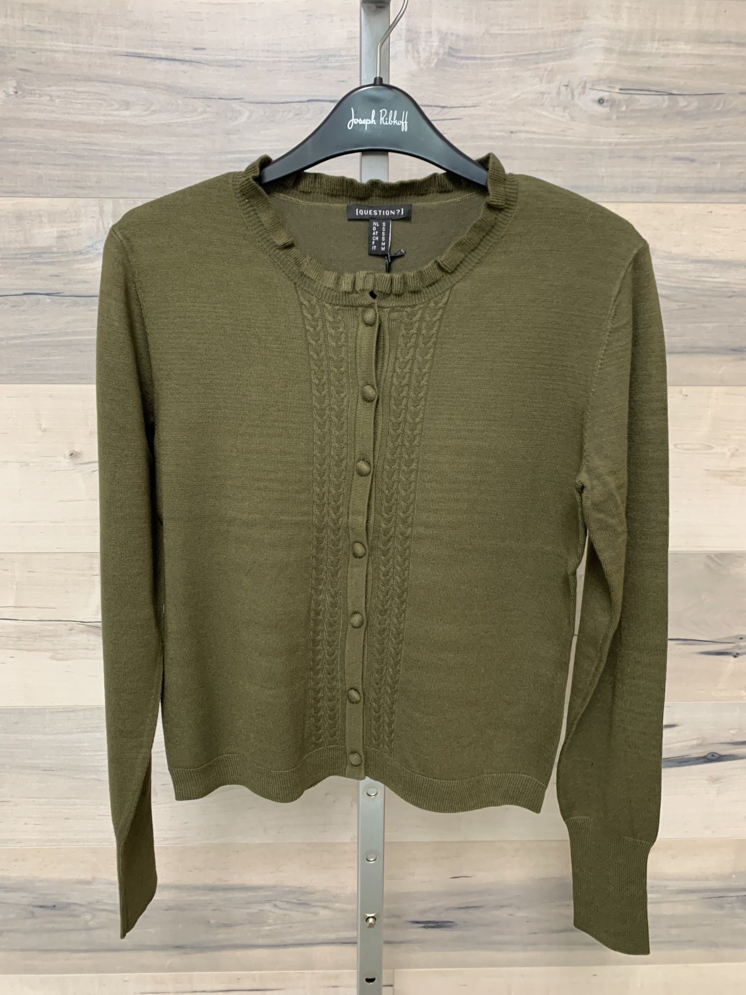 Fine Knit Cardigan with Cables and Ruffle - Olive