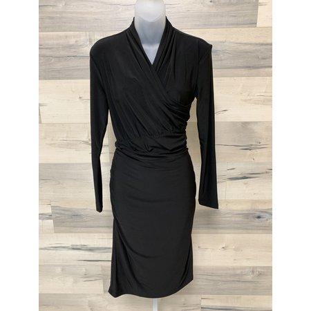 Dress with Faux Wrap on Bodice - Black
