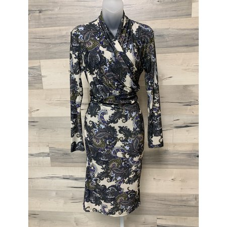 Dress with Faux Wrap on Bodice - Navy and Olive Paisley