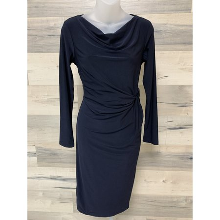 Dress with Small Cowl and Knot - Navy