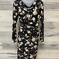 Dress with Small Cowl and Knot - Black Roses