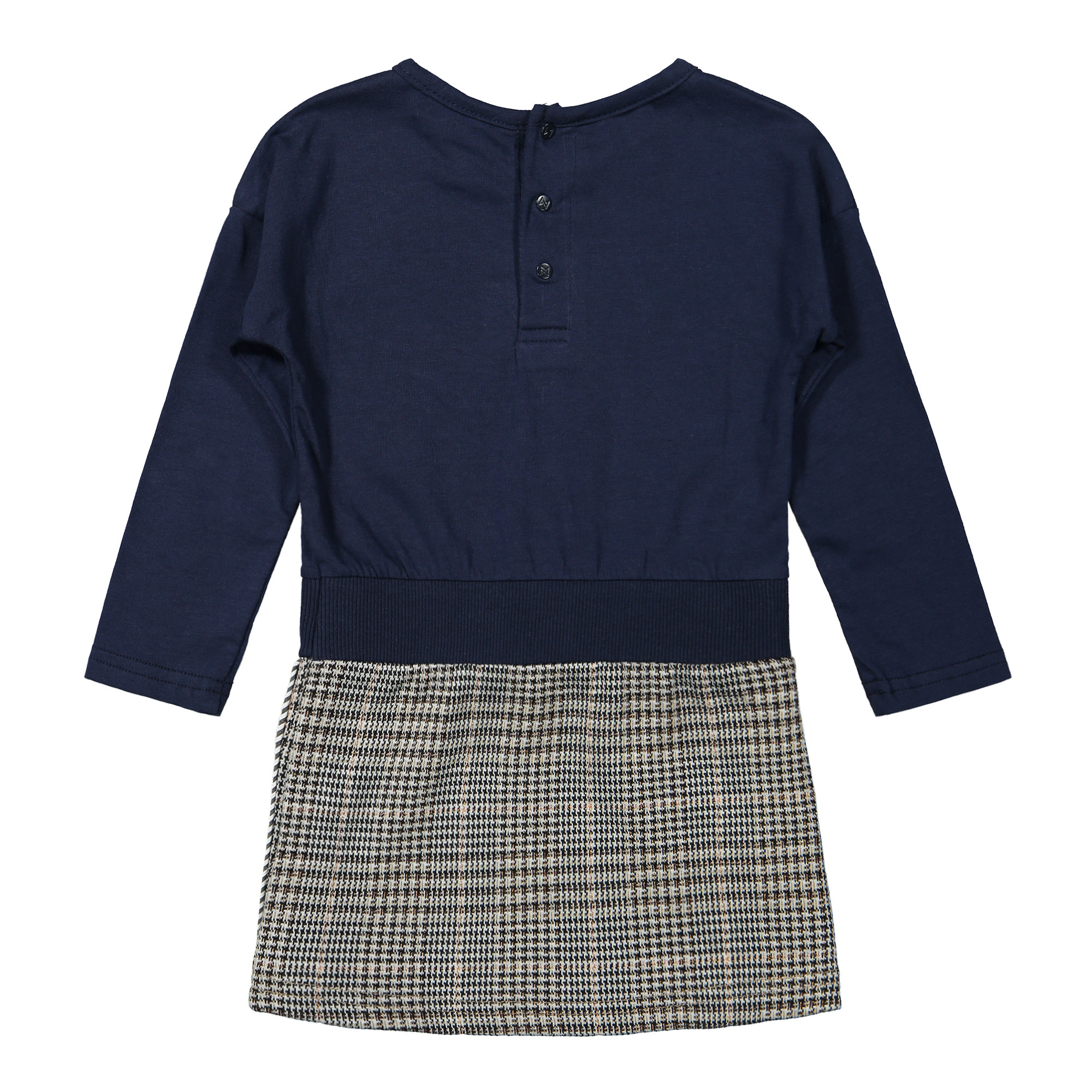 Branded Dress with Houndstooth Skirt