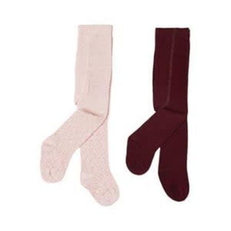 Tights - 2 Pack - Pink and Wine
