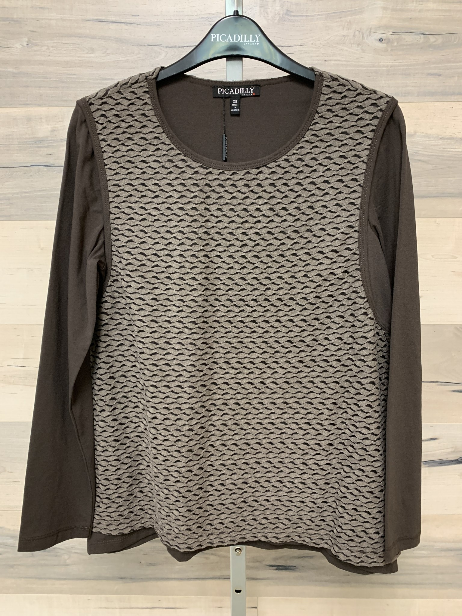 Long Sleeve Layered Top - Taupe