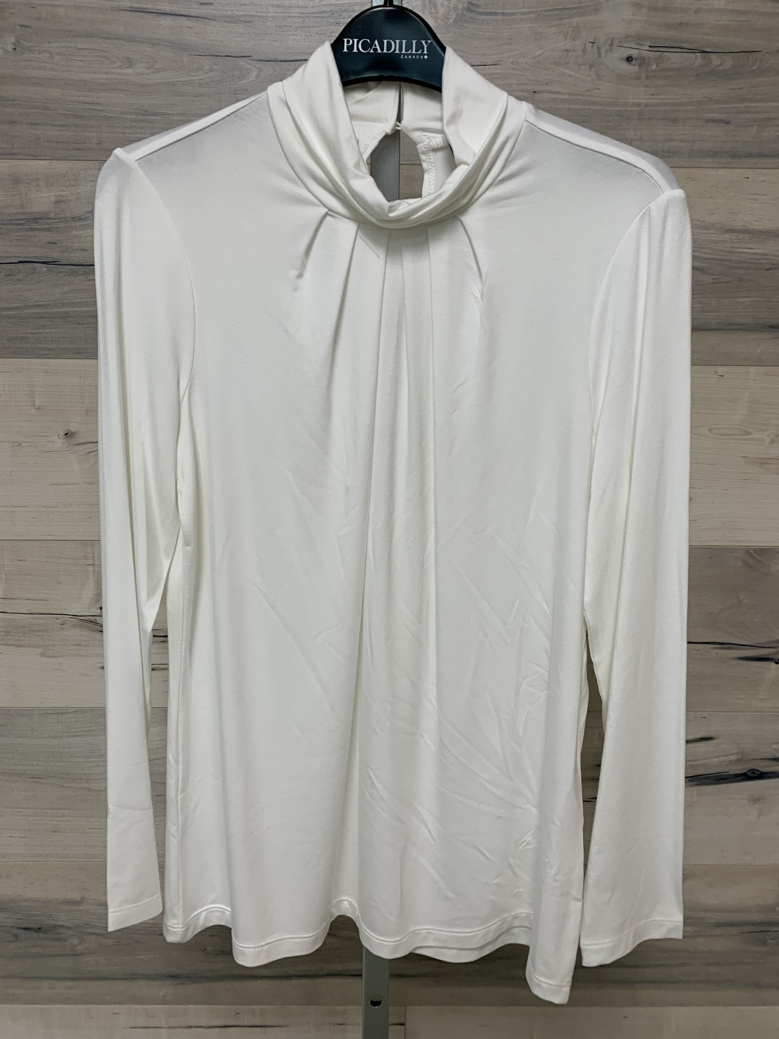 Pleated Mock Neck Top - Off White
