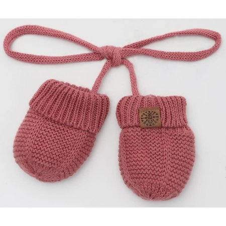 Cotton Knit Mittens with String - Brick