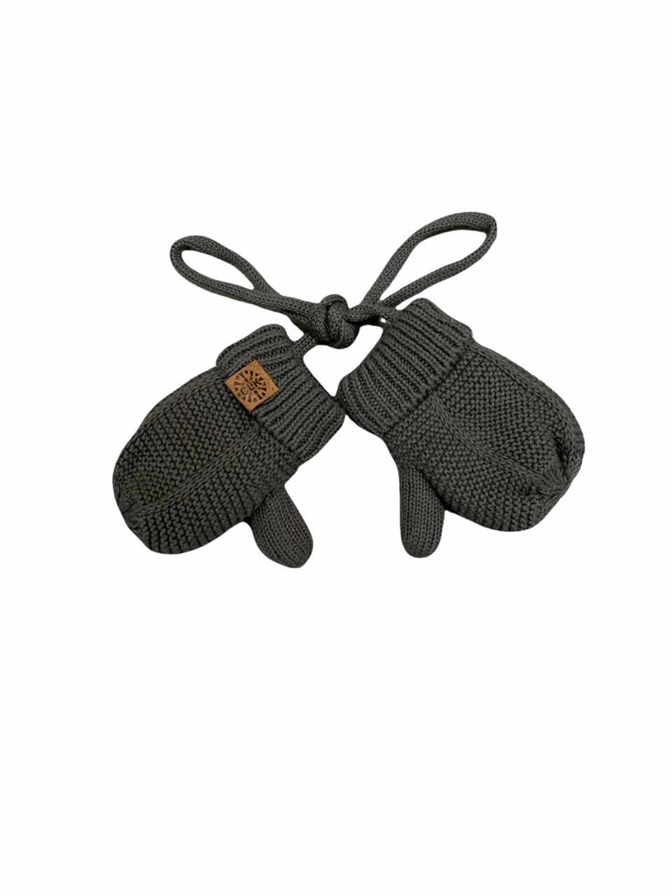 Cotton Knit Mittens with String - Charcoal