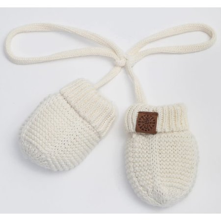 Cotton Knit Mittens with String - Cream