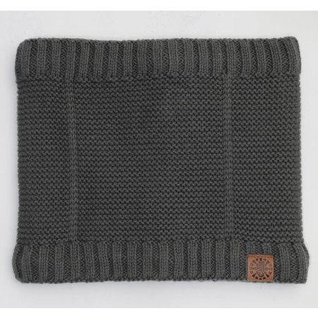 Cotton Knit Neck Warmer with Minky Lining - Charcoal