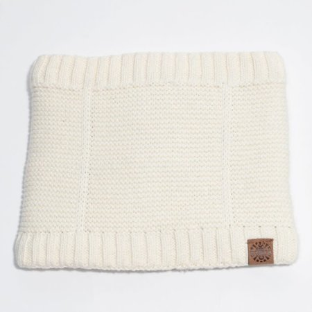 Cotton Knit Neck Warmer with Minky Lining - Cream