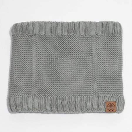 Cotton Knit Neck Warmer with Minky Lining - Grey