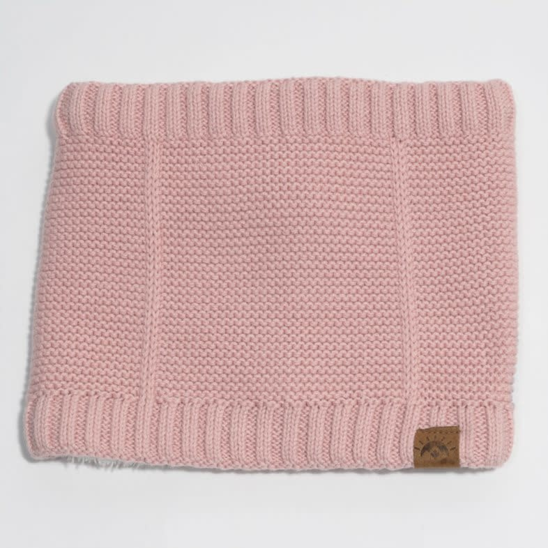 Cotton Knit Neck Warmer with Minky Lining - Pink