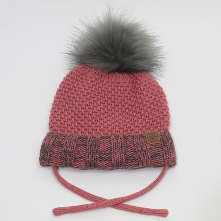 Baby Knit Hat with PomPom - Brick Combo