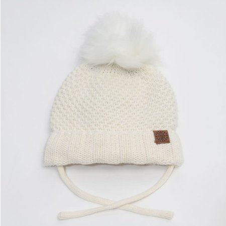 Baby Knit Hat with PomPom - Cream