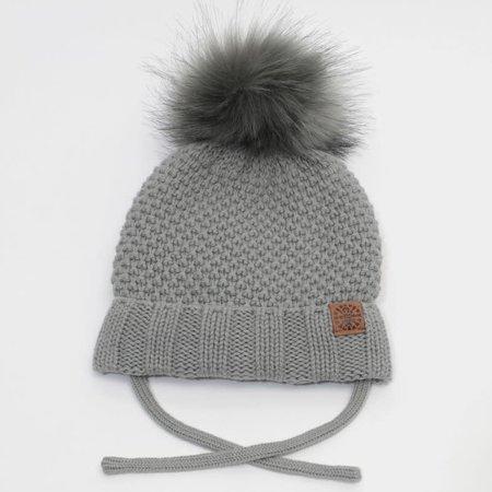 Baby Knit Hat with PomPom - Grey
