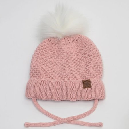 Baby Knit Hat with PomPom - Pink