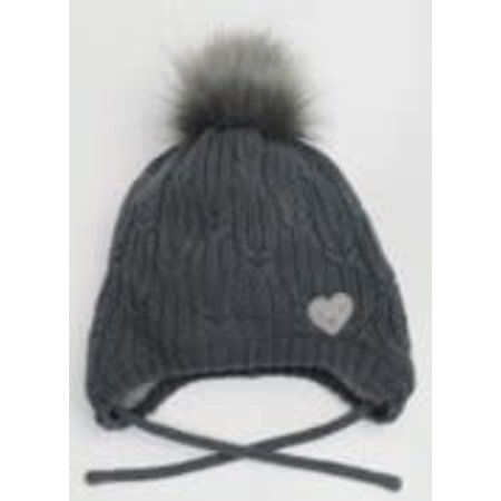 Knit Hat with Teddy Lining - Graphite