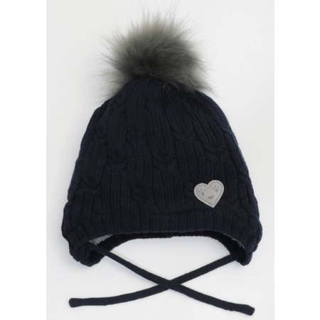 Knit Hat with Teddy Lining - Navy