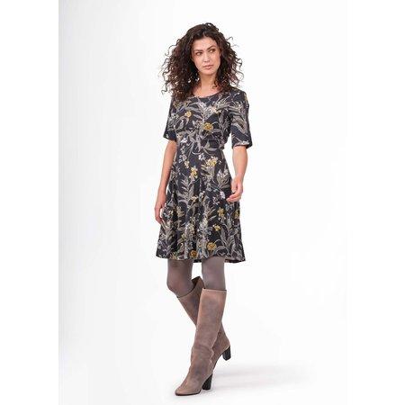 Grey Floral A-Line Dress