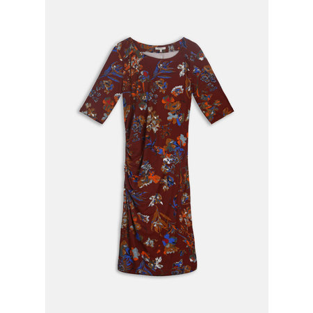 Rust Floral Dress with Side Ruching