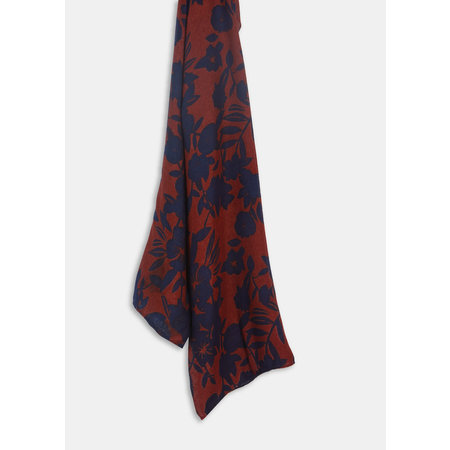 Rust and Navy Print Scarf