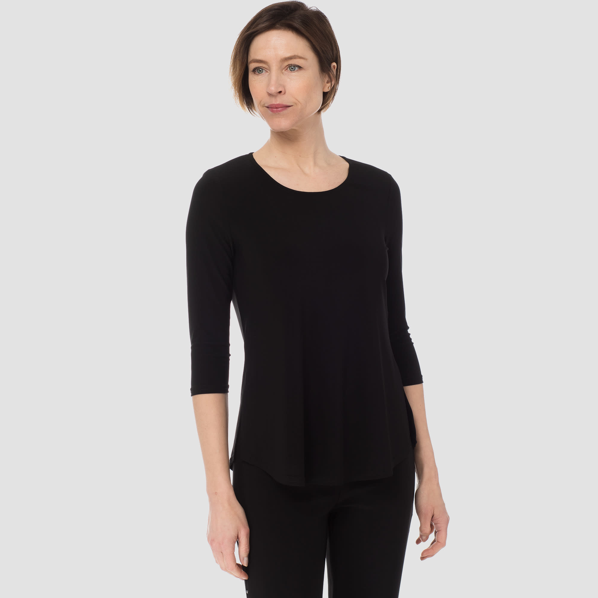 Basic 3/4 Sleeve Top - Black