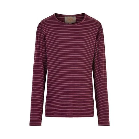 Jersey Stripe Tee with Puff Sleeve - Burgundy and Terra Cotta
