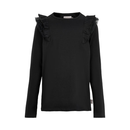 Black Jersey Tee with Ruffle Detail