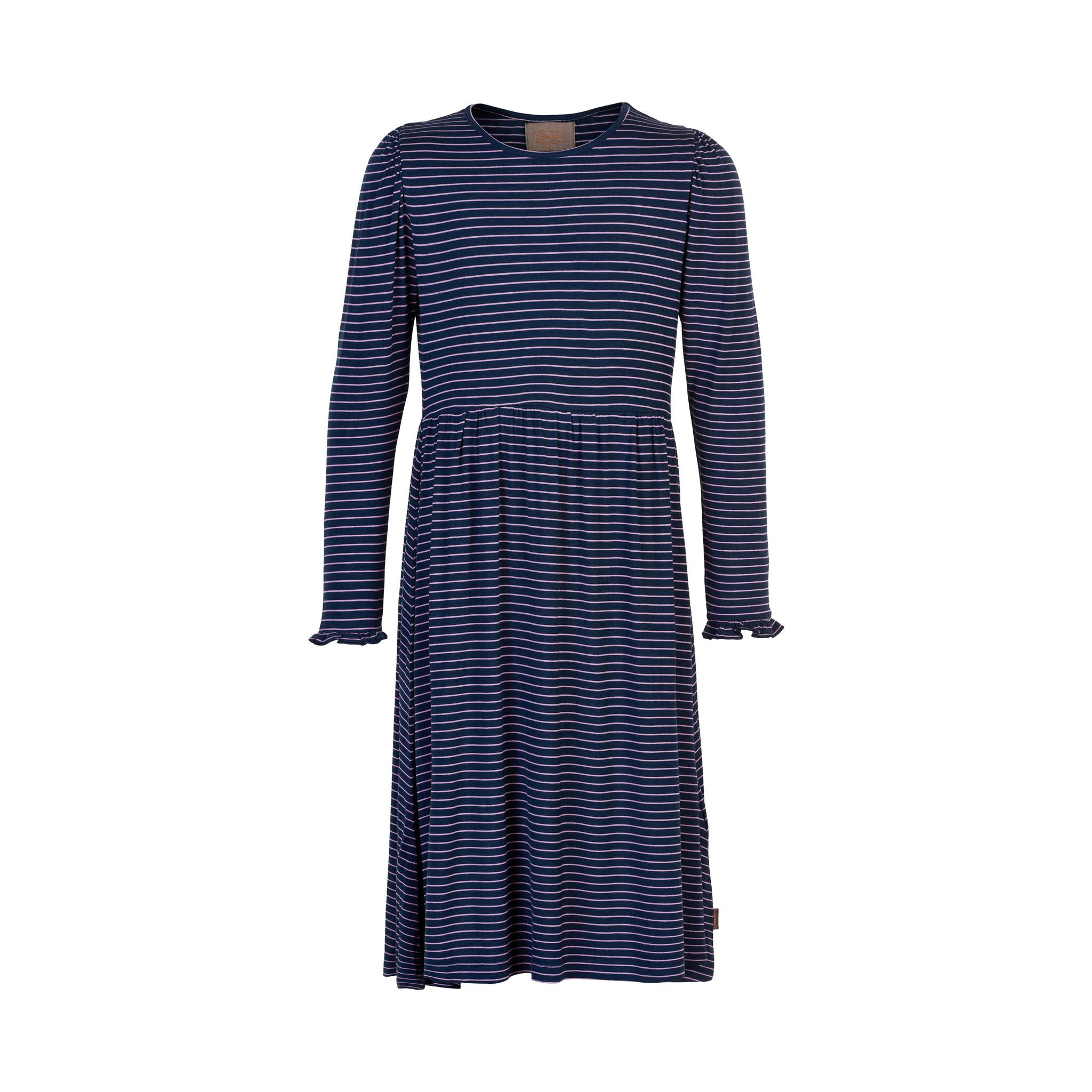 Jersey Dress - Navy and Lilac Stripe