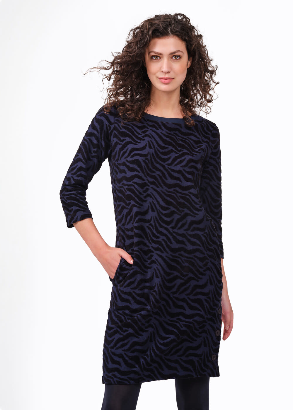 Jacquard Navy and Black Animal Print Dress