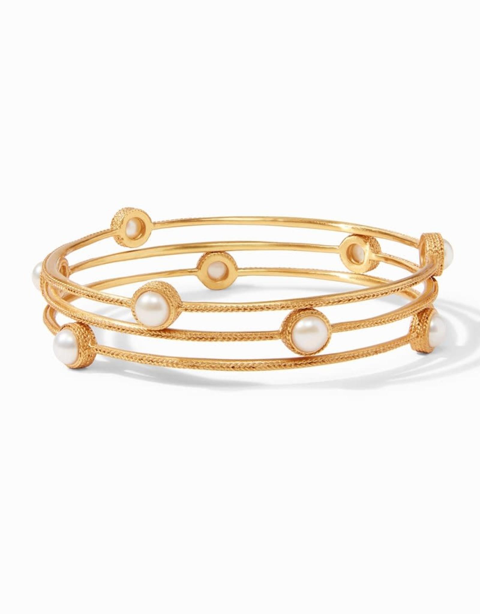 Julie Vos Julie Vos Calypso Pearl/Gold Bangle Medium