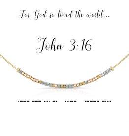 Dot & Dash Design Dot & Dash Necklace John 3:16 Gold