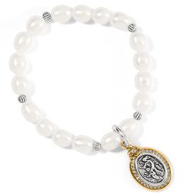 Guardian Angel Pearl Stretch Bracelet Silver-Gold OS