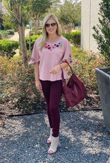 Sister Mary Blush Flutter Sleeve Emb. Top