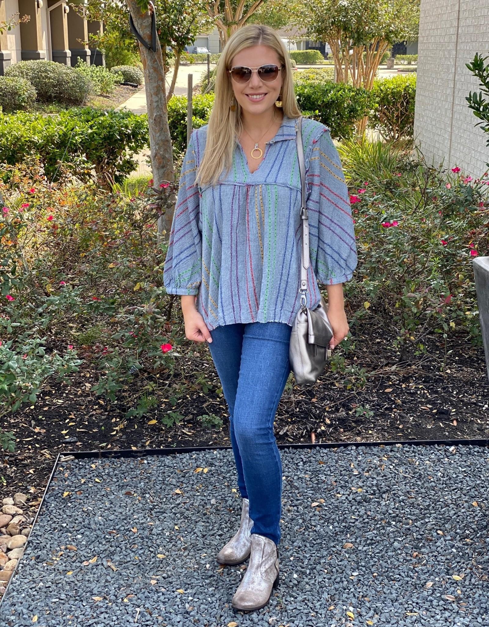 Ivy Jane Chambray Stripe Swing Fringy Top