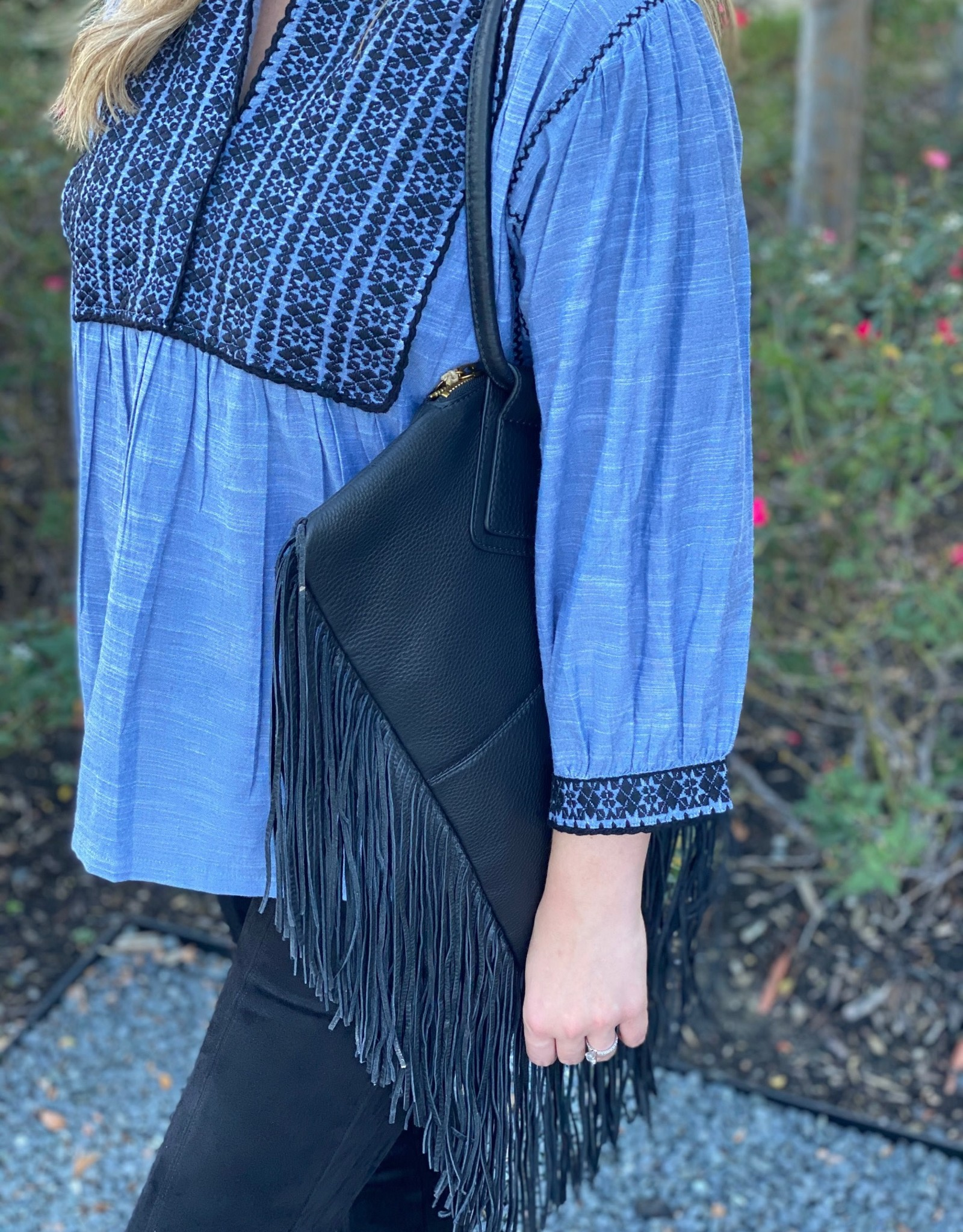 Sister Mary Chambray Peasant Popover w/Embroidery