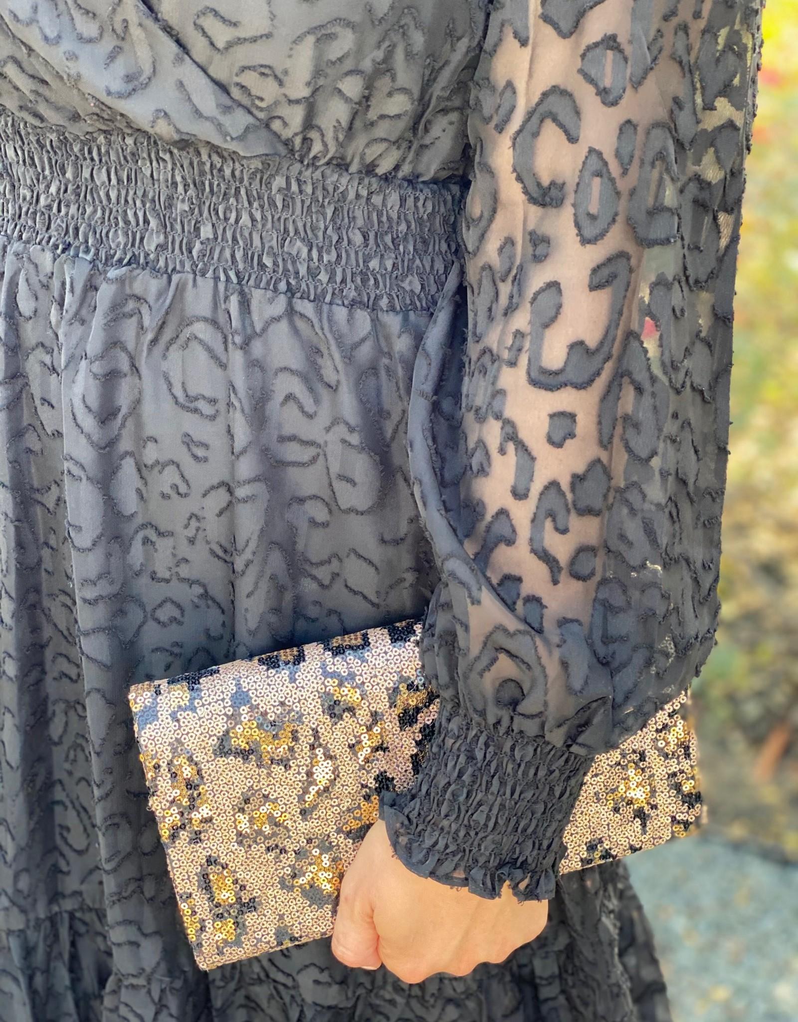 Joy Joy Black L/S Cinched Waist Dress