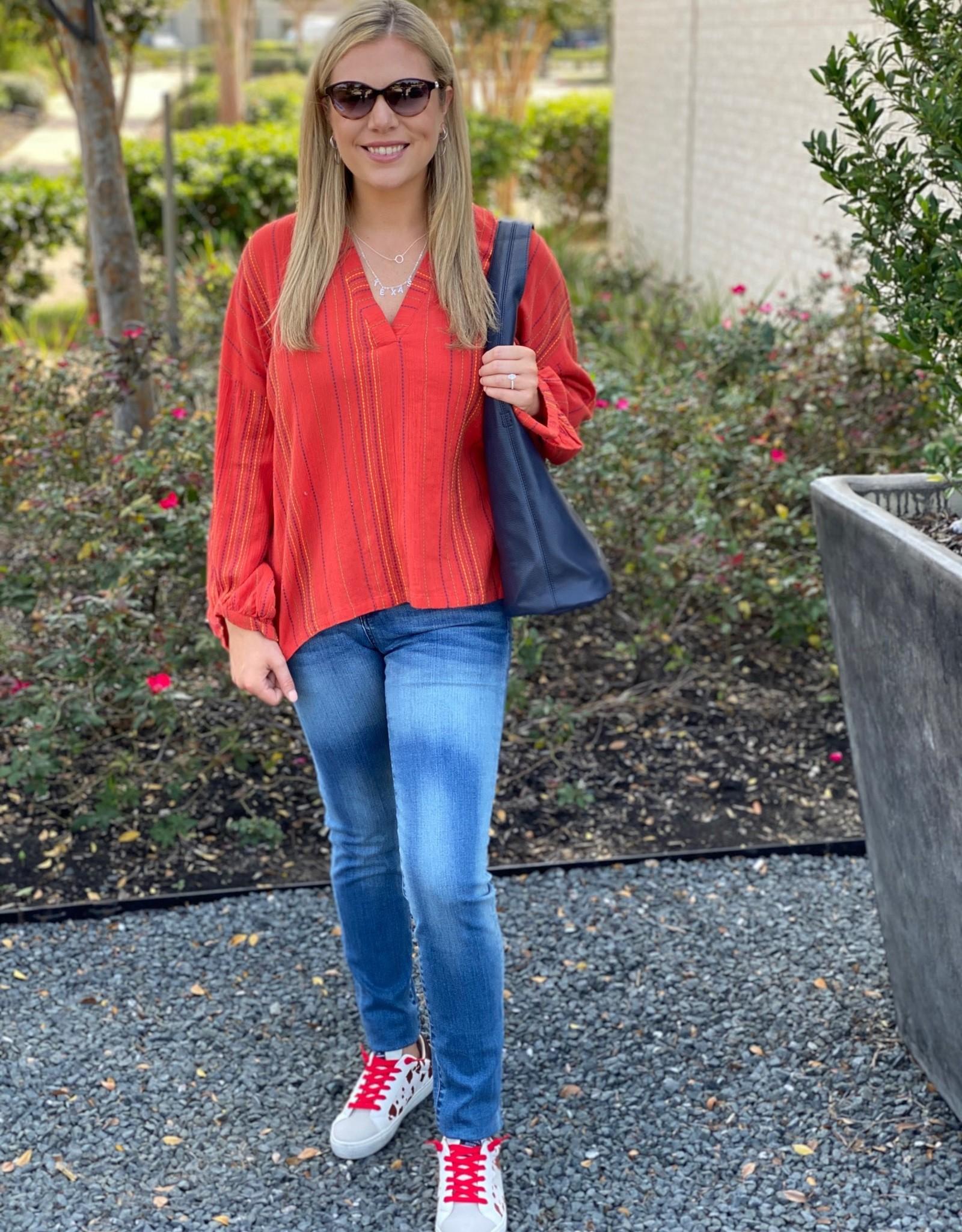 Ivy Jane Red Skip-Stitched Popover Top