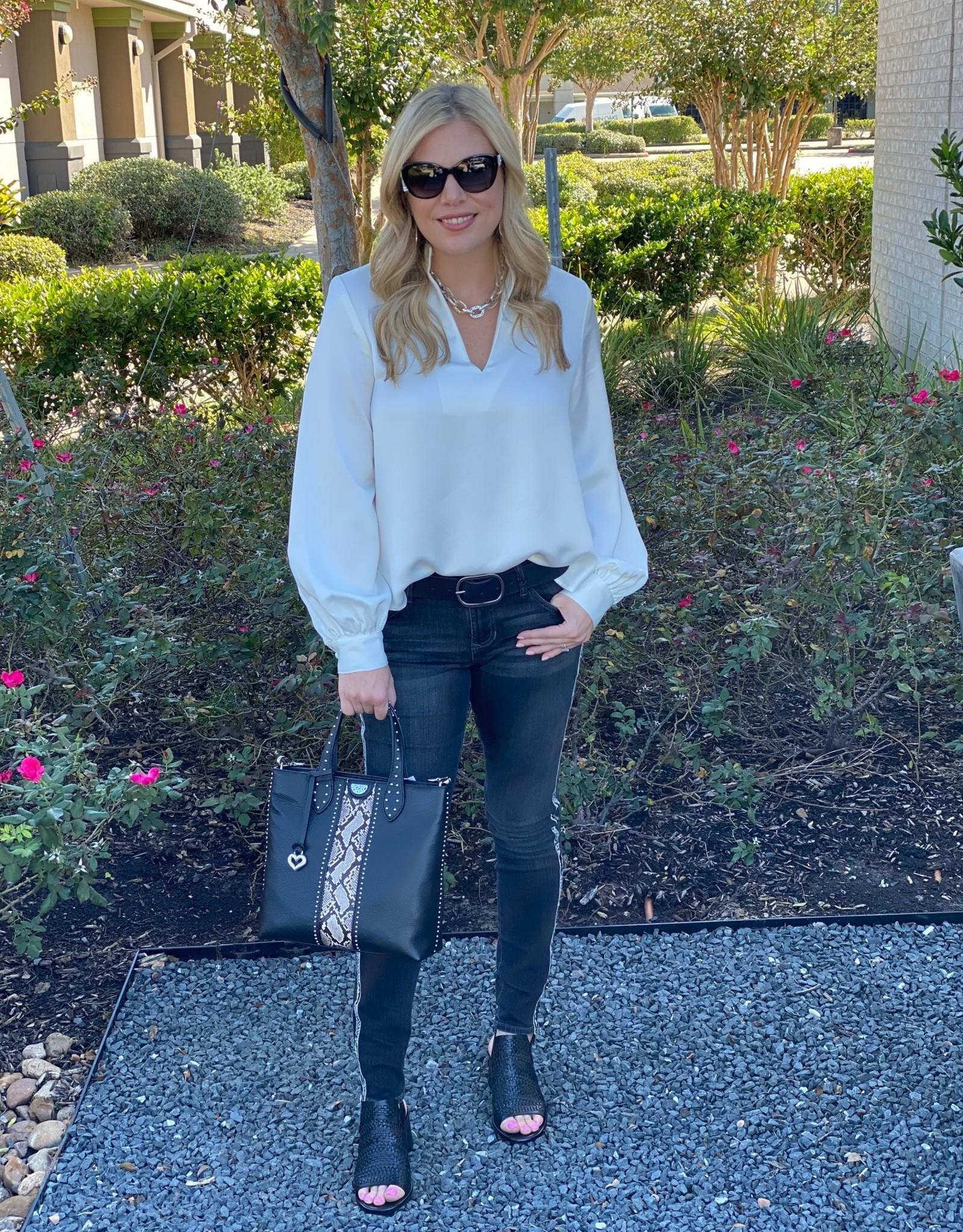 Karen Kane Silky Mandarin Collar Blouse