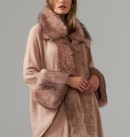 Joseph Ribkoff Pink Poncho w/Faux Fur Trim/OS