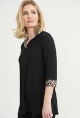 Joseph Ribkoff Black Pullover w/Animal Print Trim