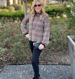 Molly Bracken Tweed Sweater w/Blk Tie Slv