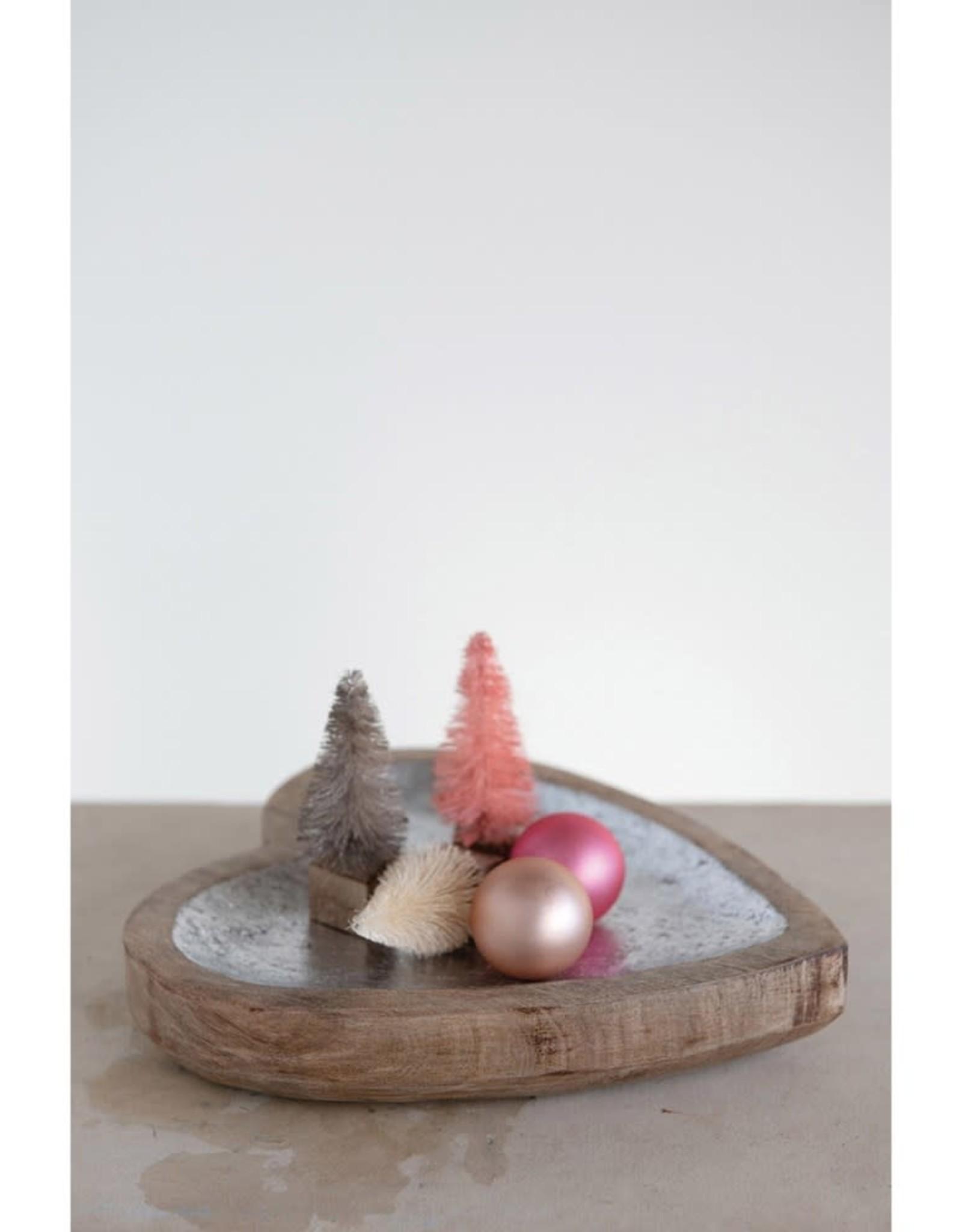 Creative Co-Op Silver Finish Wood Heart Tray