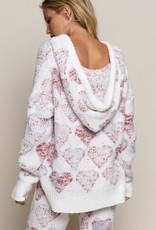 POL Clothing Inc. Heart Print Hi-Lo Sweater