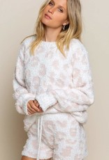POL Clothing Inc. White/Pink Leopard Sweater